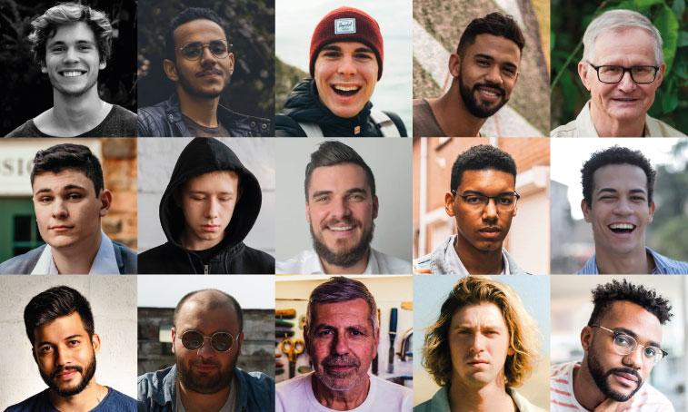 Wall of mens faces